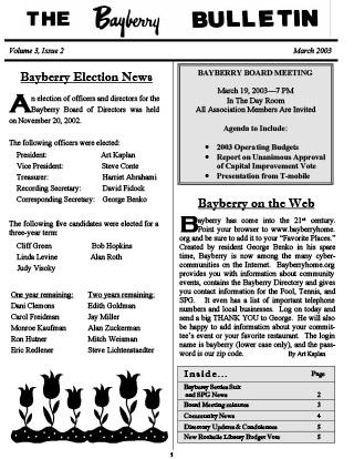 Bayberry Bulletin 2003