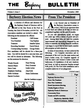 Bayberry Bulletin 2005