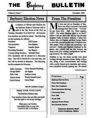 Bayberry Bulletin 2006