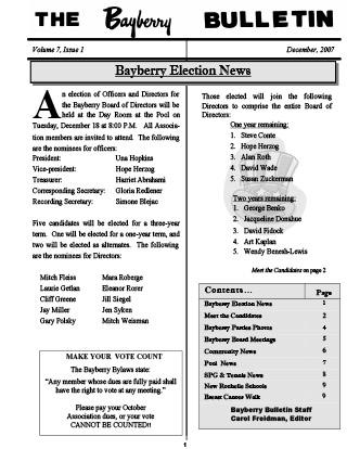 Bayberry Bulletin 2007