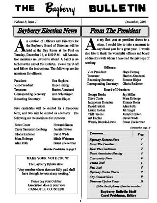 Bayberry Bulletin 2008