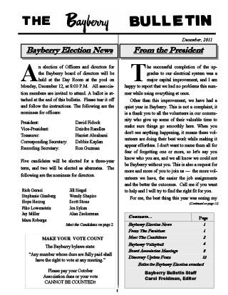 Bayberry Bulletin 2011